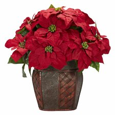Poinsettia with Decorative Vase Silk Arrangement