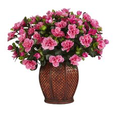 Azalea Silk Desk Top Plant in Decorative Vase