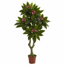 Nearly Natural Plumeria Round Topiary in Pot