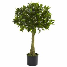 Nearly Natural Bay Leaf Round Topiary in Pot