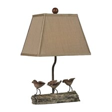 """Little Birds on Log 18"""" H Table Lamp with Empire Shade"""