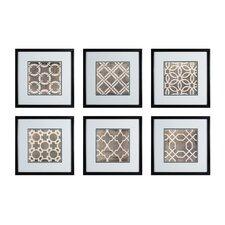 Symmetry Blueprint 6 Piece Framed Graphic Art Set