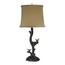 """Chicks on Branch 29"""" H Table Lamp with Oval Shade"""