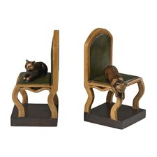 Cat on Chair Book Ends (Set of 2)