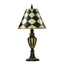 "Harlequin and Stripe Urn 29"" H Table Lamp with Empire Shade"