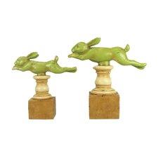 2 Piece Running Rabbit Figurine Set