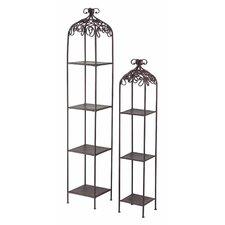 Metal Free Standing Shelves in Rust