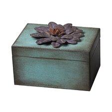 Wooden and Metal Flower Keep Sake Box