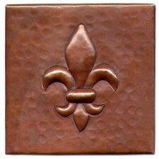 "Fleur De Lis 4"" x 4"" Copper Tile in Dark Copper"