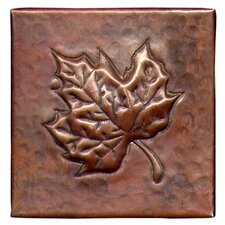 "Maple Leaf 4"" x 4"" Copper Tile in Dark Copper"