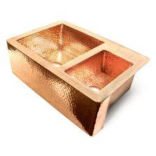 "Copper 36"" x 22"" 60/40 Double Bowl Farmhouse Kitchen Sink"