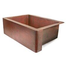 """Copper 30"""" x 22"""" Single Bowl Farmhouse Kitchen Sink"""