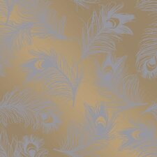 "Feathers Self-Adhesive Removable 33' x 20.5"" Foiled Panel Wallpaper"