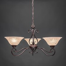 Olde Iron 3 Light  Chandelier with Italian Marble Glass Shade