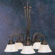 Wave 5 Light  Chandelier with Italian Marble Glass Shade