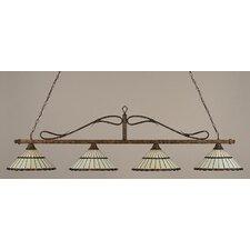 4 Light Wrought Iron Rope Kitchen Island Pendant