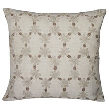 Ditsy Flower Embellished Linen Throw Pillow