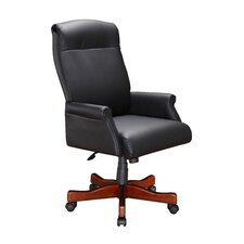 High Black Leather Roll Executive Chair with Arm