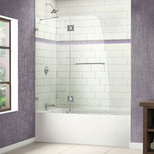 "AquaLux 58"" x 48"" Pivot Frameless Hinged Tub Door"