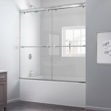 "Charisma 56 to 60"" Frameless Bypass Sliding Tub Door and QWALL-Tub Backwall Kit"
