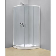 "Prime 36 3/8"" by 36 3/8"" Frameless Sliding Shower Enclosure, 1/4"" Glass Shower"