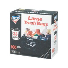 33 Gallon Large Trash Bags in Black (100 Count)