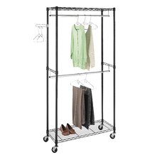Supreme Double Rod Rolling Garment Rack in Black