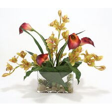 Orchids and Callas in Rectangular Vase