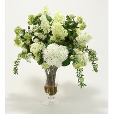 Waterlook Silk Floral Arrangement Mix with Greenery in Footed Clear Glass Urn