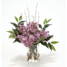 Waterlook Silk Lilacs in Rectangular Glass Vase