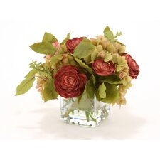 Waterlook® Silk Hydrangeas with Dried Roses and Bay Leaves in Glass Square