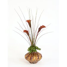 Silk Calla Lilies, Succulents and Grass in Hand PaInted Ribbed Vase