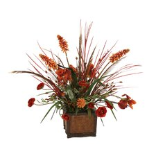 Silk Iris, Ranunculus and Hot Poker with Dried Grasses in Chateau Planter