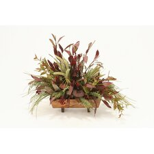 Fall Silk Foliages, Grasses and Pods Desk Top Plant in Planter