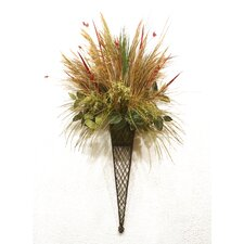 Grasses, Reeds and Echinacea in Lattice Wall Sconce