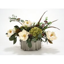 Silk Magnolias, Hydrangeas, Berries and Feathers in Pewter Oval Planter
