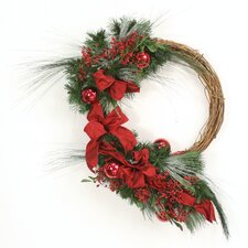 Down Home Snow Dusted Pine Deep Red Berries Ornaments and Ribbon Wreath