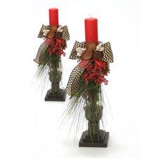Woodland Treasure Dressed Wooden Candlesticks (Set of 2)