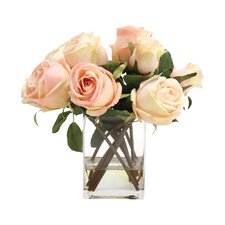 Waterlook Silk Roses and Rose Buds in Tall Glass Square