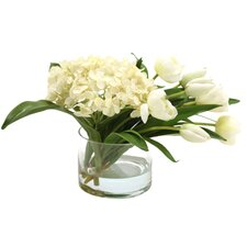 Waterlook Silk Hydrangeas and Stage Tulips with Cylinder Vase