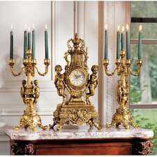 Chateau Beaumont Grand Clock and Candelabra Set