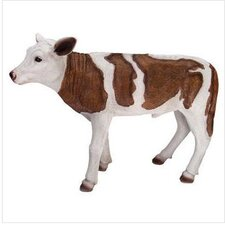 Country Boy Brown Cow Statue