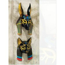 2 Piece Masks of Ancient Egyptian Gods Wall Décor Set