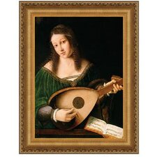 Lady Playing a Lute 1530 by Bartolomeo Veneto Framed Painting