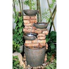 Stacked Bricks Cascading Garden Fountain with Light