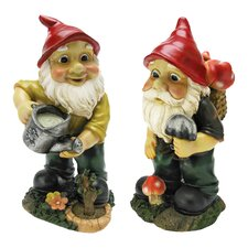 Garden Gnome 2 Piece Statue Set