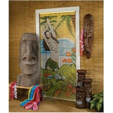 Beaded Door Curtains - Hawaiian Hula Wahine Tiki Bamboo Single Panel Room Divider