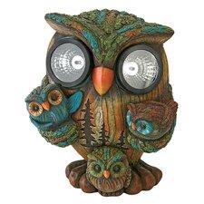 Bright Eyes Solar Owl Family Garden Statue