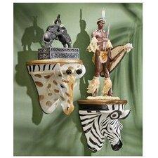 2 Piece Giraffe and Zebra Wall Shelf Set