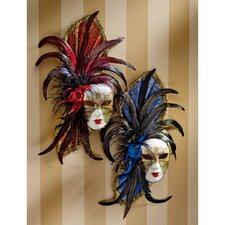 Venezia Feathered Carnivale Mask (Set of 2)